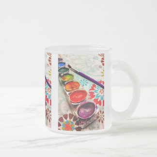 Watercolor Artist Paint Tray and Brush on Flowers Coffee Mug