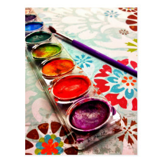 Watercolor Artist Paint Tray and Brush on Flowers Postcard