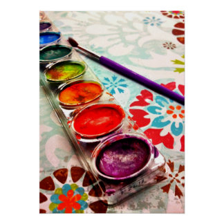 Watercolor Artist Paint Tray and Brush on Flowers Posters