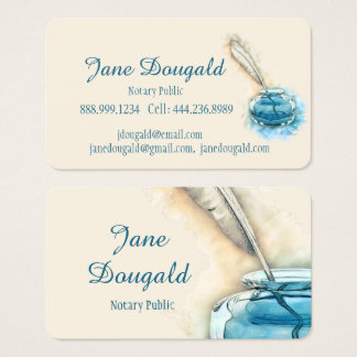 Watercolor Artistic  Feather Pen Classic Notary Business Card