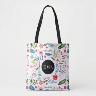 Watercolor Assorted Floral Elements Illustration Tote Bag