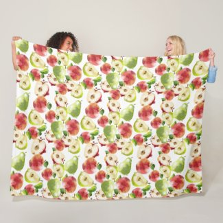 Watercolor Autumn Apples Fleece Throw Blanket