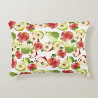 Watercolor Autumn Apples Throw Pillow