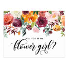 Watercolor Autumn Bloom Will You Be My Flower Girl Postcard
