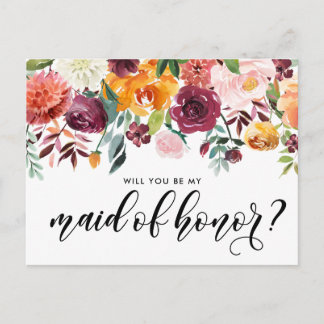 Watercolor Autumn Blooms Be My Maid of Honor Invitation Postcard