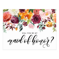 Watercolor Autumn Blooms Be My Maid of Honor Postcard
