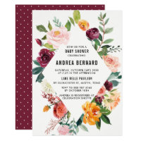 Watercolor Autumn Blooms Floral Baby Shower Invitation