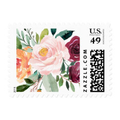 Watercolor Autumn Blooms Floral Postage at Zazzle