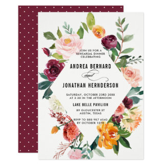 Watercolor Autumn Blooms Floral Rehearsal Dinner Card