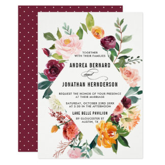 Watercolor Autumn Blooms Floral Wedding Invitation