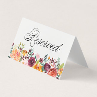 Watercolor Autumn Blooms Floral Wedding Reserved Card
