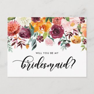 Watercolor Autumn Blooms Will You Be My Bridesmaid Invitation Postcard