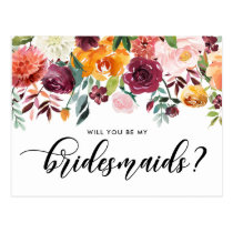 Watercolor Autumn Blooms Will You Be My Bridesmaid Postcard
