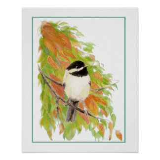 Watercolor Autumn Chickadee Bird Fall Leaves Poster