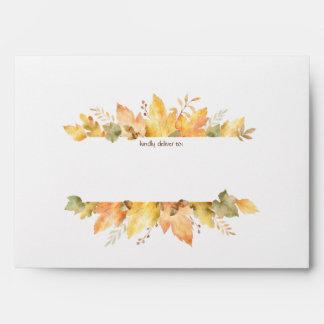 Watercolor Autumn Fall Leaves 1   Envelope