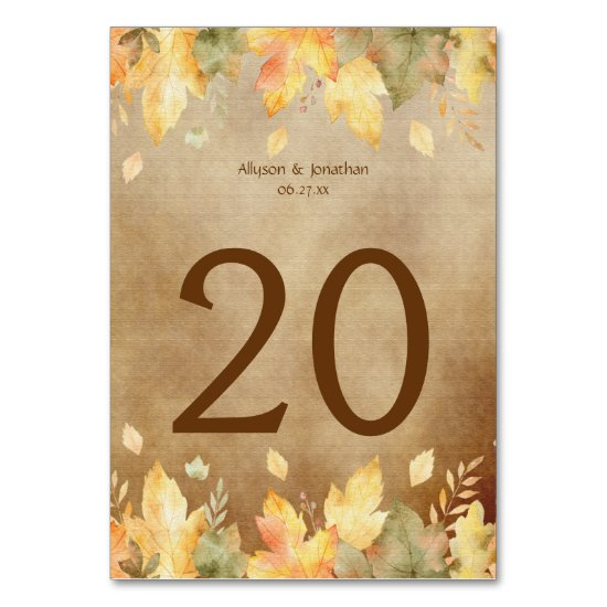 Watercolor Autumn Fall Leaves Table Card 2 |