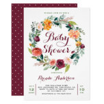 Watercolor Autumn Floral Wreath Baby Shower Card
