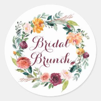Watercolor Autumn Floral Wreath Bridal Brunch Classic Round Sticker