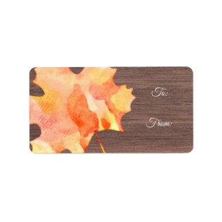 Watercolor Autumn Leaf Thanksgiving labels