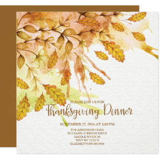 Watercolor Autumn Leave Thanksgiving Dinner Card