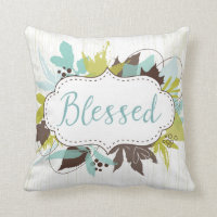 Watercolor Autumn Leaves Blessed Throw Pillow