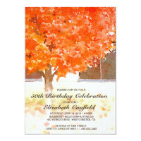 Watercolor Autumn Leaves | Fall Birthday Party Invitation