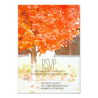 Watercolor Autumn Leaves | Fall Wedding RSVP Card