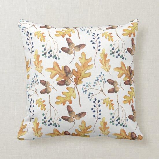 Watercolor Autumn Oak Leaves Acorns Blue Berries | Throw Pillow