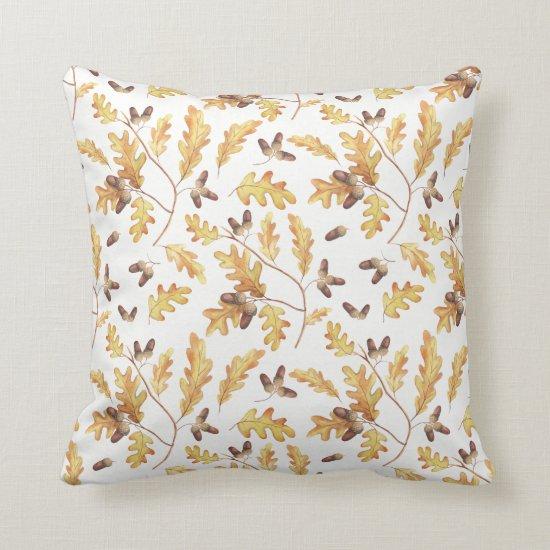 Watercolor Autumn Oak Leaves Acorns | Throw Pillow