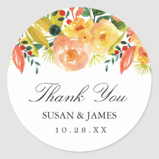Watercolor Autumn Peach Floral Wedding Favor Classic Round Sticker