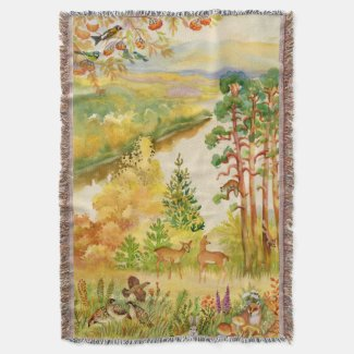 Watercolor Autumn Scene Woven Throw Blanket