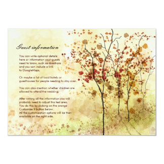 Watercolor Autumn Trees Wedding Insert Card
