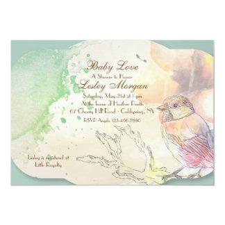 Watercolor Baby Bird Baby Shower Invitation