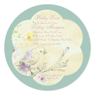 Watercolor Baby Bird PK Baby Shower Invitation