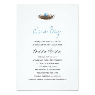 Watercolor Baby Boy Bird's Nest Baby Shower Card