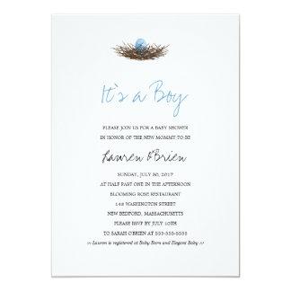 Watercolor Baby Boy Bird's Nest Baby Shower Card