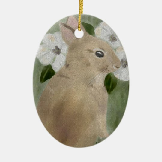 Watercolor Baby Bunny and Flowers Ornament