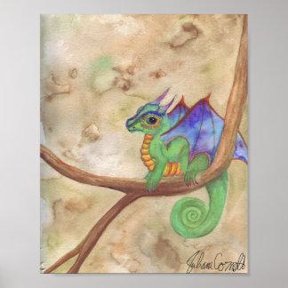 Watercolor Baby Dragon Poster
