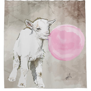 Watercolor Baby Goat With Bubblegum Shower Curtain