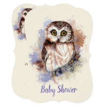 Watercolor Baby Owl Bird Baby Shower Card