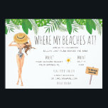 """Watercolor Bachelorette Beach Party Invitation<br><div class=""""desc"""">Tropical bachelorette beach party weekend invitation features watercolor girl in swimsuit and tropical flowers. Event details on back of invitation. Can be customized for any event.</div>"""