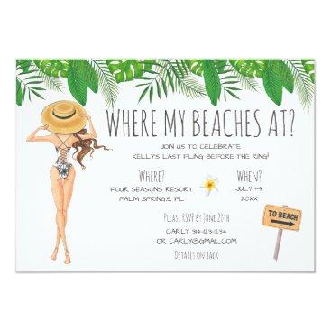 partypapercreations Watercolor Bachelorette Beach Party Invitation