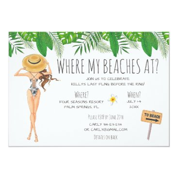 partypapercreations Watercolor Bachelorette Beach Party Invitation