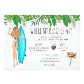 Watercolor Bachelorette Surf Beach Party Invitation