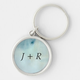 watercolor background in pastel blue and yellow key chain