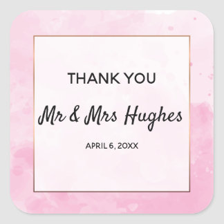 Watercolor background Romantic wedding thank you Square Sticker