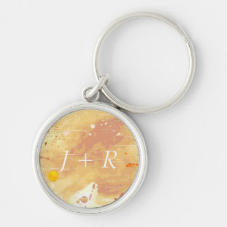 watercolor background Silver-Colored round keychain