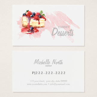 Watercolor Bakery Desserts ID298 Business Card