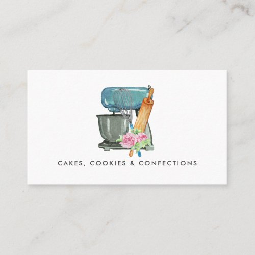 Watercolor Bakery Logo  Floral Business Card