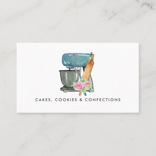 Watercolor Bakery Logo | Floral Business Card